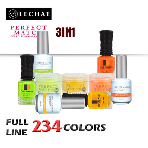 Lechat Perfect Match 3in1 Dipping Powder + Gel Polish + Nail Lacquer, Full line of 234 colors (from PMDP001 to PMDP234) KK1024