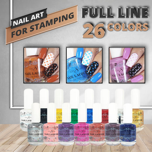 Cre8tion Stamping Nail Art Lacquer Collection, 0.5oz, Full Line Of 26 Colors ( From 01 to 26)