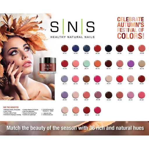SNS Gelous Dipping Powder, Celebrate Autumn's Festival Of Colors Collection, 1oz, Full Line Of 36 Colors (AC01 - AC36) Pro