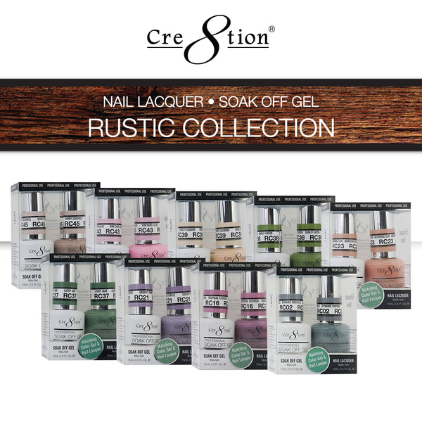 Cre8tion Gel Polish & Nail Lacquer, Rustic Collection, 0.5oz, Full line of 45 colors (from RC01 to RC45) KK1022