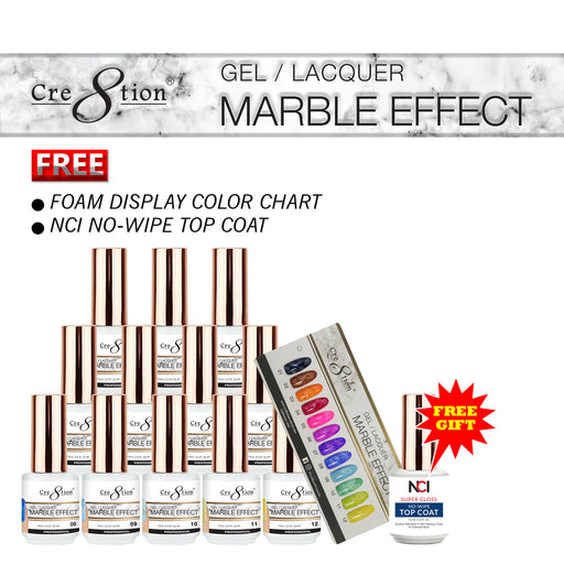 Cre8tion Marble Effect Gel / Lacquer, 0.5oz, Full line of 12 colors (from 01 to 12) KK1010