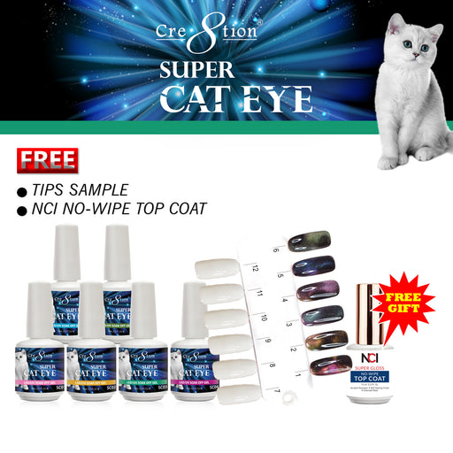 Cre8tion Super Cat Eye Gel Polish, 0.5oz, Full Collection of 6 Colors (from SC01 to SC06), 0916-1057 KK1129