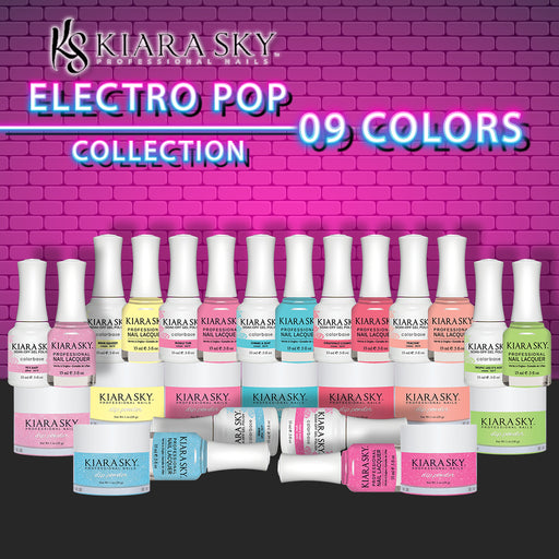 Kiara Sky 3in1 Dipping Powder + Gel Polish + Nail Lacquer 1, Electro Pop Collection, Full line of 9 Colors (from DGL 612 to DGL 620) OK0518VD