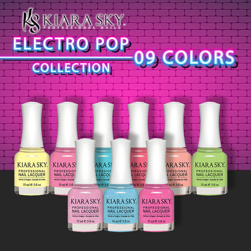 Kiara Sky Nail Lacquer 2, Electro Pop Collection, Full Line of 9 Colors (From N612 to N620), 0.5oz OK0518VD