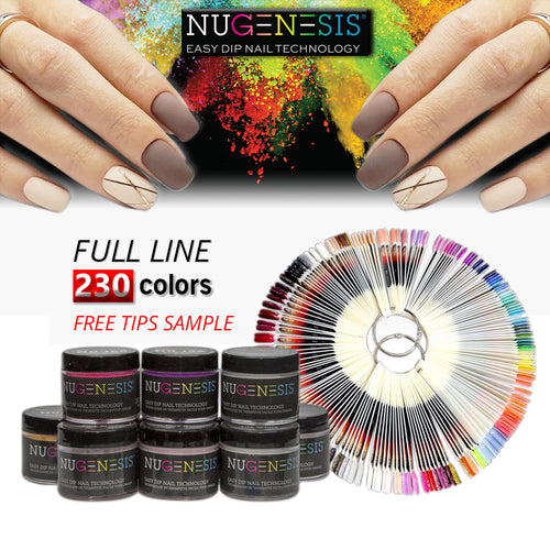 Nugenesis Dipping Powder, 2oz, Full Line of 230 Colors (From NU 001 to NU 200, NL 001 to NL 030, Price: $14.15/pc)
