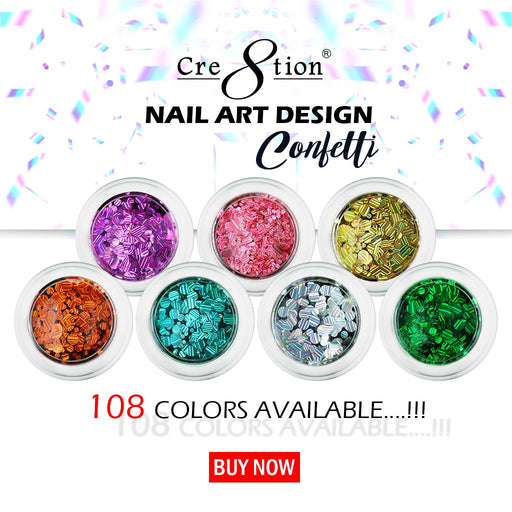Cre8tion Nail Art Designed Confetti Glitter, 0.5oz, Full line of 108 colors (From 001 to 108), 1101-0595