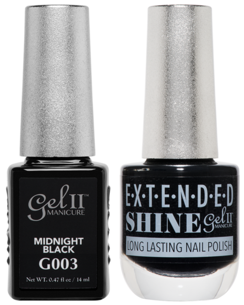 Gel II Manicure And Extended Shine, G003, Midnight Black, 0.47oz KK
