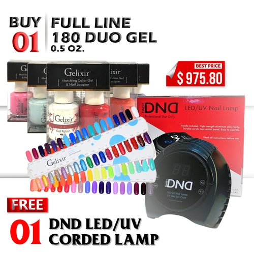 Gelixir Nail Lacquer And Gel Polish, Full Line of 180 colors (from 001 to 180), Buy 1 Get 1 DND LED/UV CORDED Gel Lamp FREE