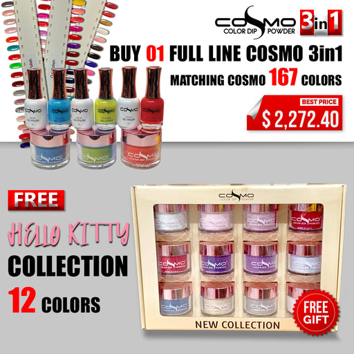 Cosmo 3in1 Dipping Powder + Gel Polish + Nail Lacquer (Matching Cosmo), Full Line of 167 Colors, Buy 1 Get 1 Cosmo Dipping Powder Full Line Hello Kitty Collection Of 12 Colors FREE
