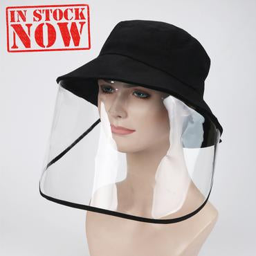 Hat With Face Shield, Nylon Polyester, BLACK OK0330VD