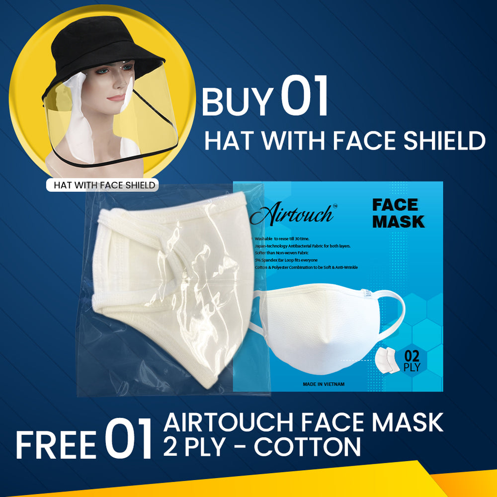 Hat With Face Shield, Buy 01pc Get 01pc Airtouch Face Mask Cotton FREE
