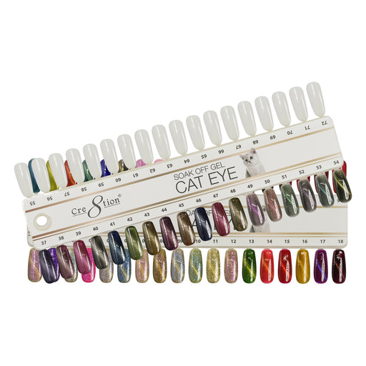 Cre8tion Cat Eye Chameleon + Glaze+ Jade Eye Gel Polish, 0.5oz, Tips Sample