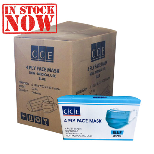 CCE Disposable 4 Ply Face Mask, Blue, CASE, 50 boxes/case OK0715VD