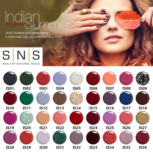 SNS Gelous Dipping Powder, Indian Summer Collection,  Full Collection Of 36 Colors (from IS01 to IS36)