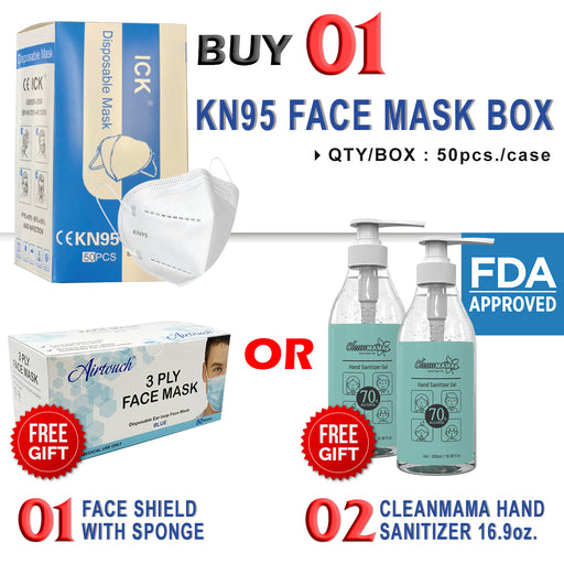 KN95 (Approved by FDA as N95) Disposable Protective Face Mask, BOX, 50 pcs/box, Buy 01 KN95 Protective Face Mask Box Get 01pc Airtouch Face Mask Box or 02pcs Cleanmama Hand Sanitizer Gel 16.9oz FREE
