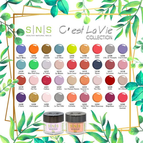 SNS Gelous Dipping Powder, C'est La Vie Collection, Full Line Of 36 Color (from LV01 to LV36)