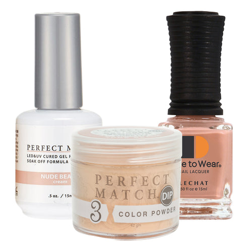 Perfect Match 3in1 Dipping Powder + Gel Polish + Nail Lacquer, PMDP177, Nude Beach KK1024