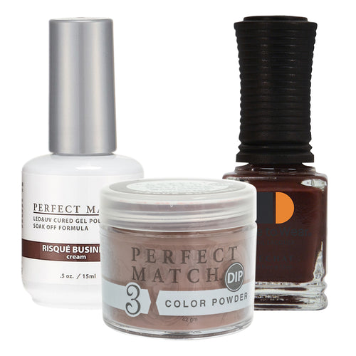 Perfect Match 3in1 Dipping Powder + Gel Polish + Nail Lacquer, PMDP184, Risque' Business KK1024