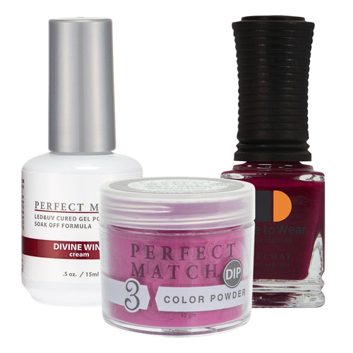 Perfect Match 3in1 Dipping Powder + Gel Polish + Nail Lacquer, PMDP185, Divine Wine KK1024