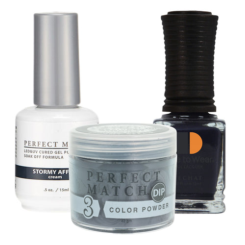 Perfect Match 3in1 Dipping Powder + Gel Polish + Nail Lacquer, PMDP186, Stormy Affair KK1024