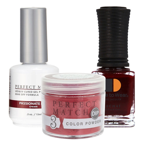 Perfect Match 3in1 Dipping Powder + Gel Polish + Nail Lacquer, PMDP191, Passionate Kiss KK1024