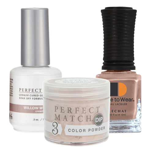 Perfect Match 3in1 Dipping Powder + Gel Polish + Nail Lacquer, PMDP195, Willow Whisper KK1024