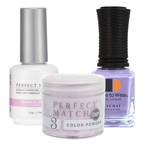 Perfect Match 3in1 Dipping Powder + Gel Polish + Nail Lacquer, PMDP198, Magical Wings KK1024