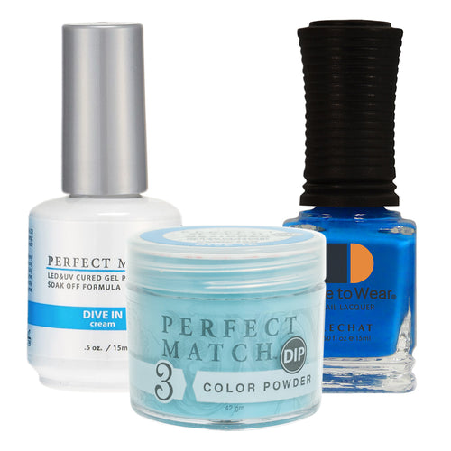 Perfect Match 3in1 Dipping Powder + Gel Polish + Nail Lacquer, PMDP199, Dive In KK1024