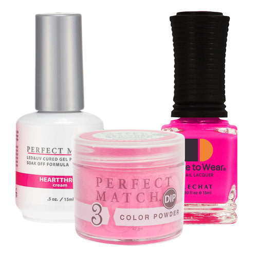Perfect Match 3in1 Dipping Powder + Gel Polish + Nail Lacquer, PMDP200, Heartthrob KK1024