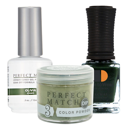 Perfect Match 3in1 Dipping Powder + Gel Polish + Nail Lacquer, PMDP210, Olivia KK1024