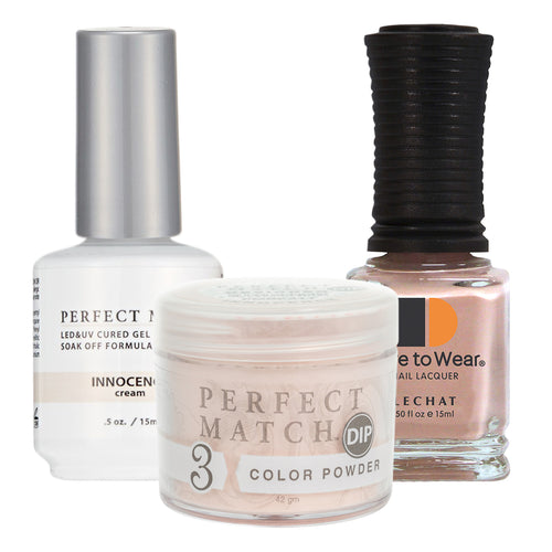 Perfect Match 3in1 Dipping Powder + Gel Polish + Nail Lacquer, PMDP211, Innocence KK1024