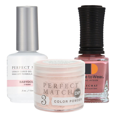 Perfect Match 3in1 Dipping Powder + Gel Polish + Nail Lacquer, PMDP213, Babydoll KK1024