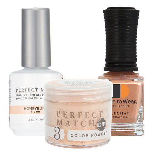 Perfect Match 3in1 Dipping Powder + Gel Polish + Nail Lacquer, PMDP215, Honeybuns KK1024