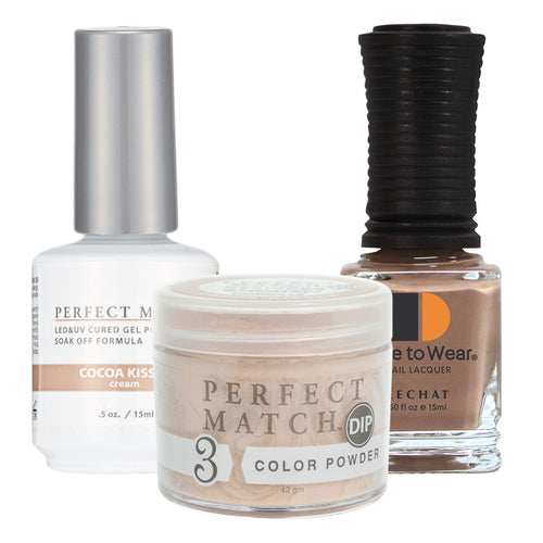 Perfect Match 3in1 Dipping Powder + Gel Polish + Nail Lacquer, PMDP216, Cocoa Kises KK1024