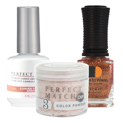 Perfect Match 3in1 Dipping Powder + Gel Polish + Nail Lacquer, PMDP217, Lunar Love KK1024