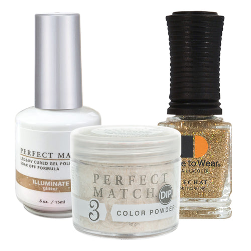 Perfect Match 3in1 Dipping Powder + Gel Polish + Nail Lacquer, PMDP218, Illuminate KK1024