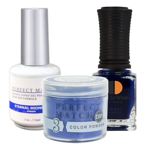Perfect Match 3in1 Dipping Powder + Gel Polish + Nail Lacquer, PMDP222, Eternal Midnight KK1024