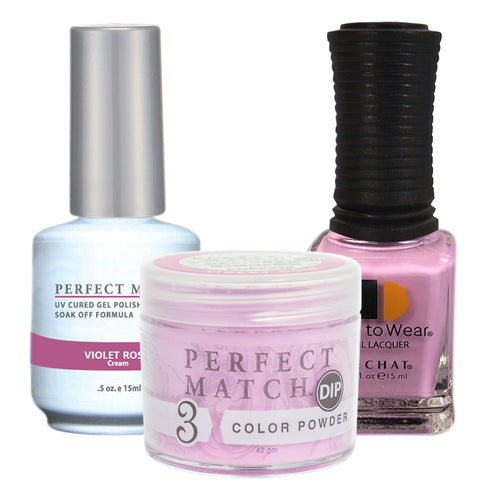 Perfect Match 3in1 Dipping Powder + Gel Polish + Nail Lacquer, PMDP228, Violet Rose KK1024