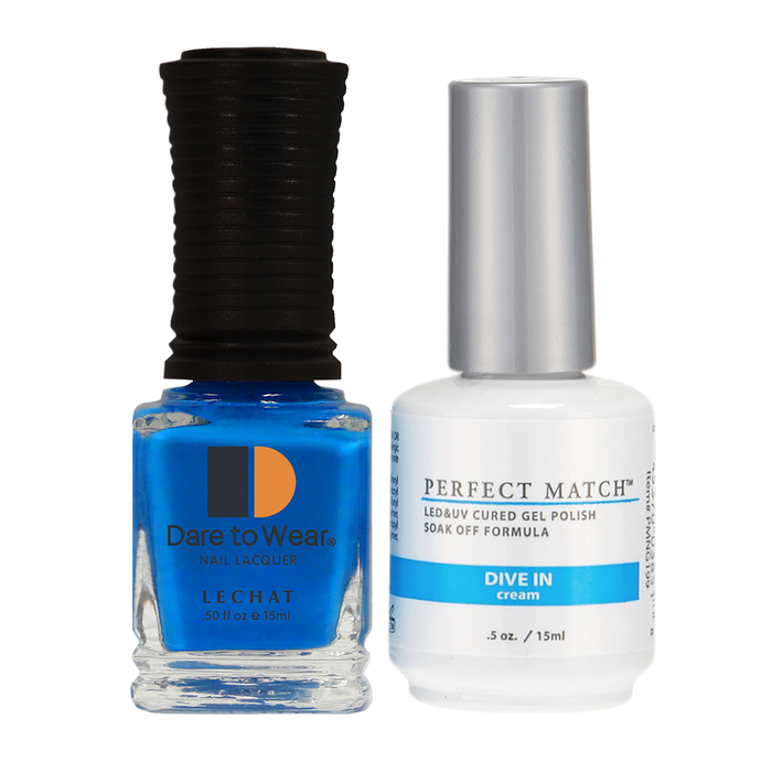 LeChat Perfect Match Nail Lacquer And Gel Polish, PMS199, Retro Collection, Dive In, 0.5oz KK0823