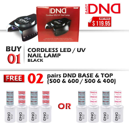 DND LED/UV CORDLESS Rechargable Gel Lamp, Buy 1 Get 2 pairs DND Base & Top (500 & 600 OR 500 & 400) FREE
