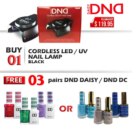 DND LED/UV CORDLESS Rechargable Gel Lamp, Buy 1 Get 3 pairs DND Duo Gel OR 3 pairs DC Duo Gel FREE