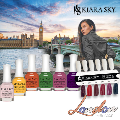 Kiara Sky Nail Lacquer 1, London Collection, Full Line of 6 Colors (From N591 to N596), 0.5oz
