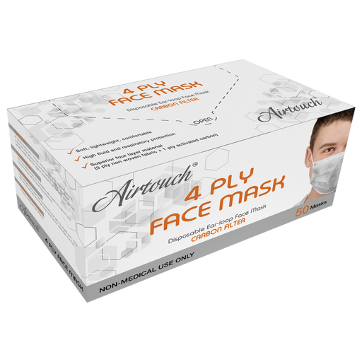 Airtouch 4 Ply Face Mask BOX, Carbon Filter, 50pcs/box, 10194