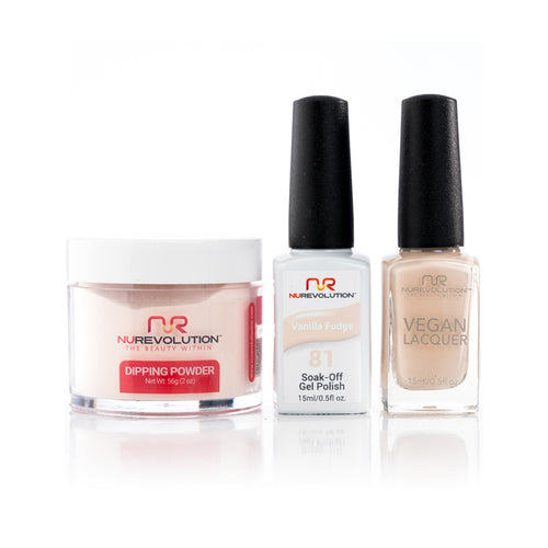 NuRevolution 3in1 Dipping Powder + Gel Polish + Nail Lacquer, 081, OK1129
