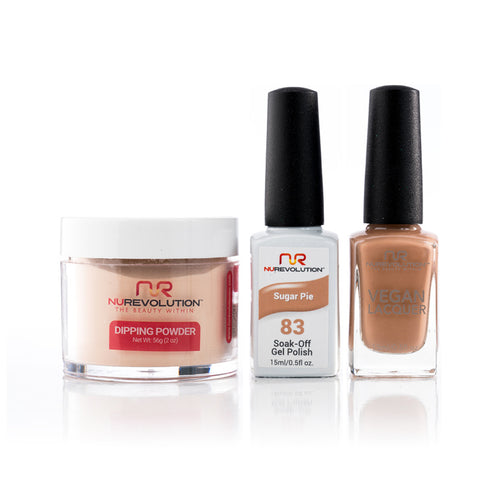 NuRevolution 3in1 Dipping Powder + Gel Polish + Nail Lacquer, 083, OK1129
