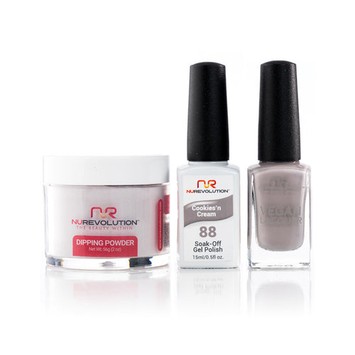 NuRevolution 3in1 Dipping Powder + Gel Polish + Nail Lacquer, 088, OK1129