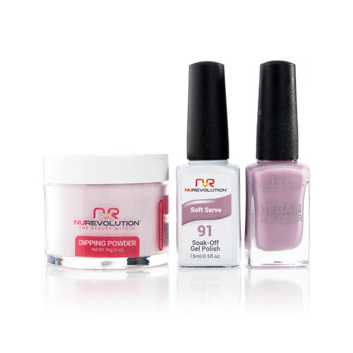 NuRevolution 3in1 Dipping Powder + Gel Polish + Nail Lacquer, 091, OK1129