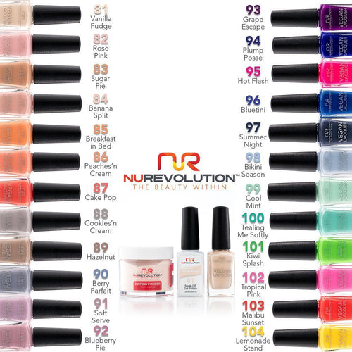 NuRevolution 3in1 Dipping Powder + Gel Polish + Nail Lacquer, New Color Full Line Of 24 Colors (from 081 to 104) KK0918