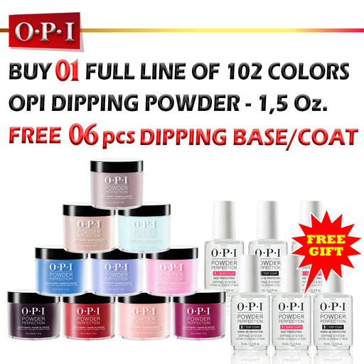 OPI Dipping Powder, 1.5oz, Full line of 102 colors, Buy 1 Get 6 pcs OPI Dipping Base/Top 0.5oz FREE