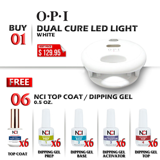 OPI Professional Dual Cure LED Lamp, Buy 1 Get 6pcs NCI Top Coat 0.5oz or 6pcs NCI Dipping Gel (ANY KIND: PREP, BASE, ACTIVATOR, TOP) 0.5oz FREE